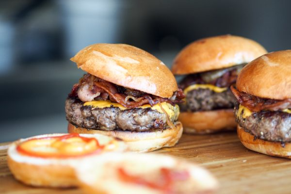 Beef burger with cheese and bacon
