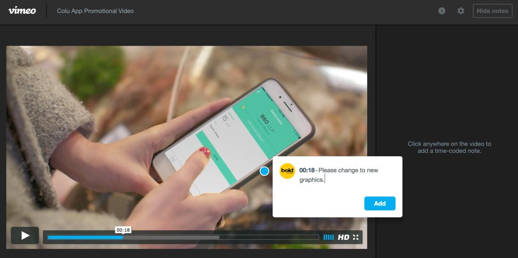 Vimeo Revew Timecode