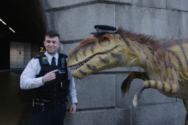 Dinosaur and London Policeman