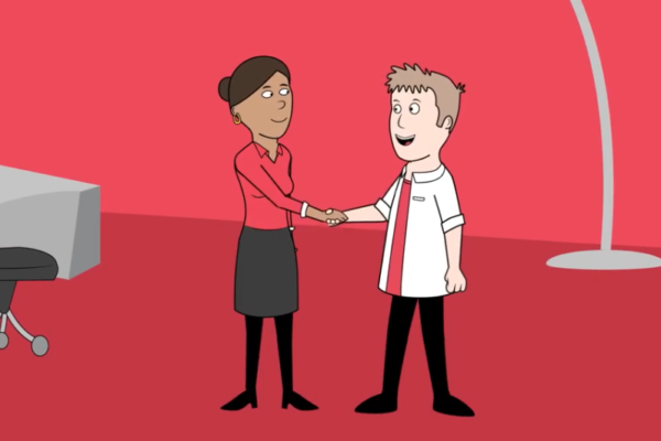Animated people shaking hands