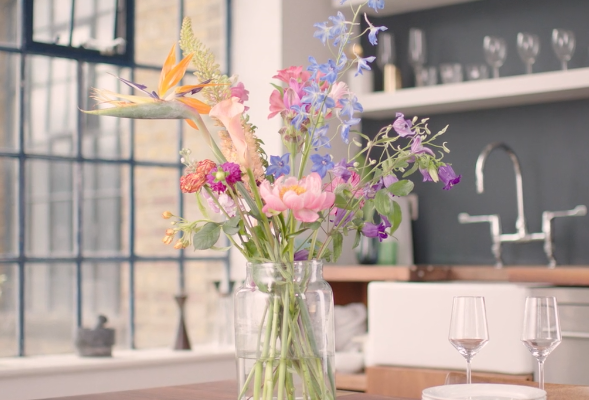 Flower arrangement in a vase for Bloomon video by Bold Content
