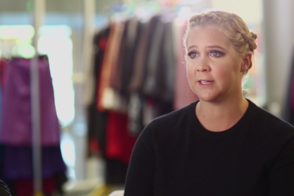 Amy Schumer giving an interview on the set of Stylist produced by Bold Content