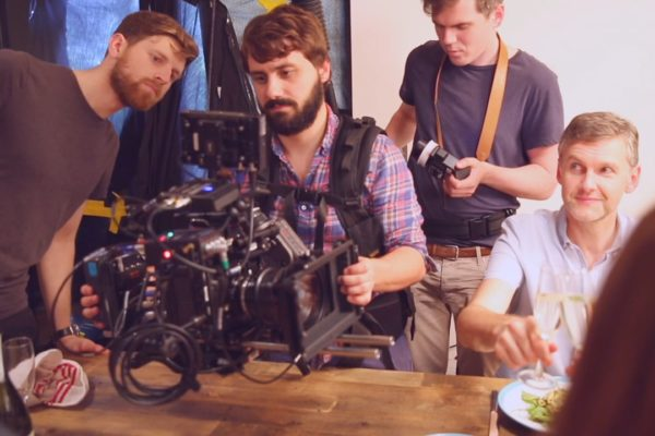 Camera operator behind the scenes of a Bold Content shoot in Venice for Trafalgar Travel