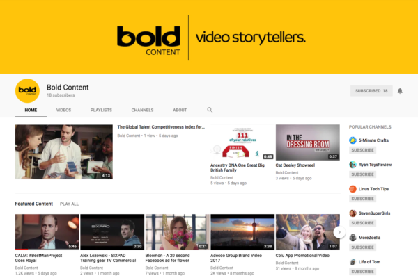 Bold Content's Youtube page