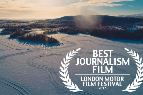 Winter landscape with Best Journalism Film London Motor Film Festival 2017 logo