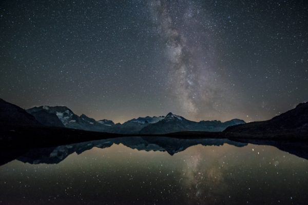 Starry sky reflected in a lake