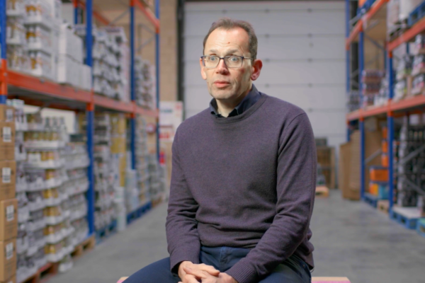 Talking Head interview testimonial man in a warehouse