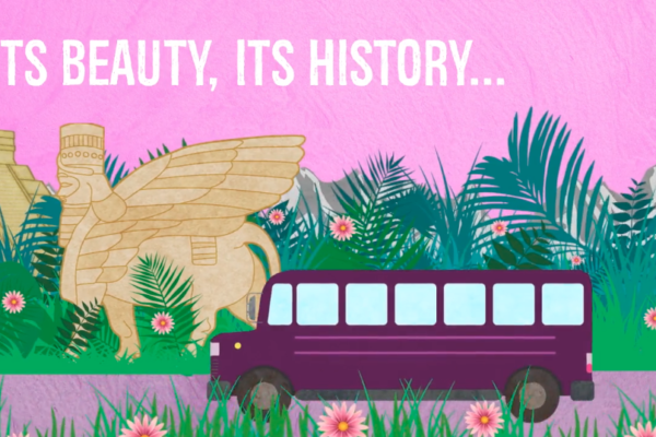 Pink buss animation and on-screen text reading 'Its beauty, its history...'