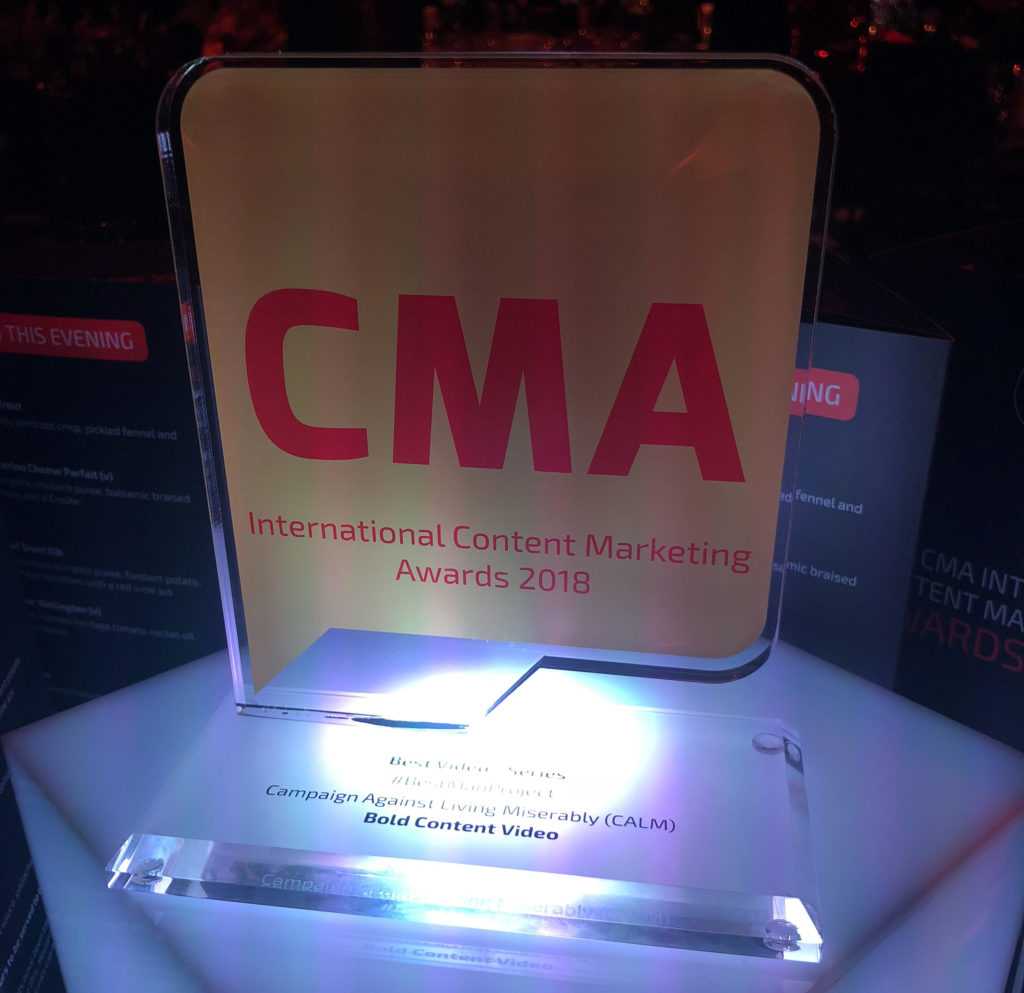 CMA International Content Marketing Awards 2018 gold winner