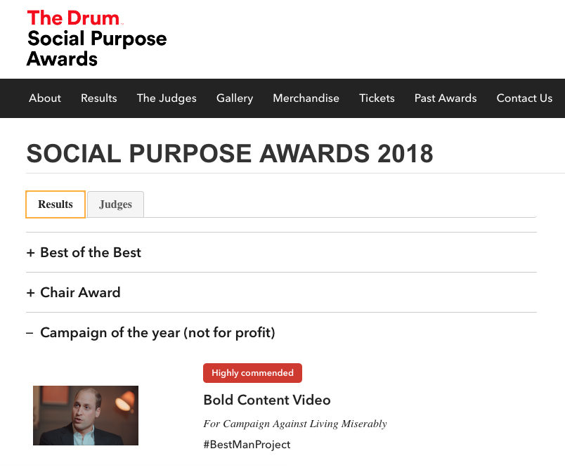 The Drum Social Purpose Awards 2018 finalist