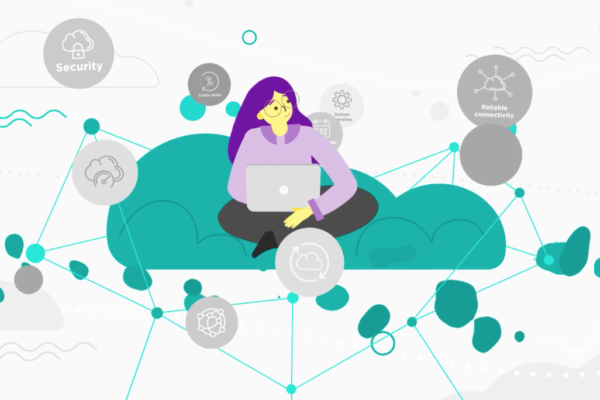 Animated woman sat on a green cloud