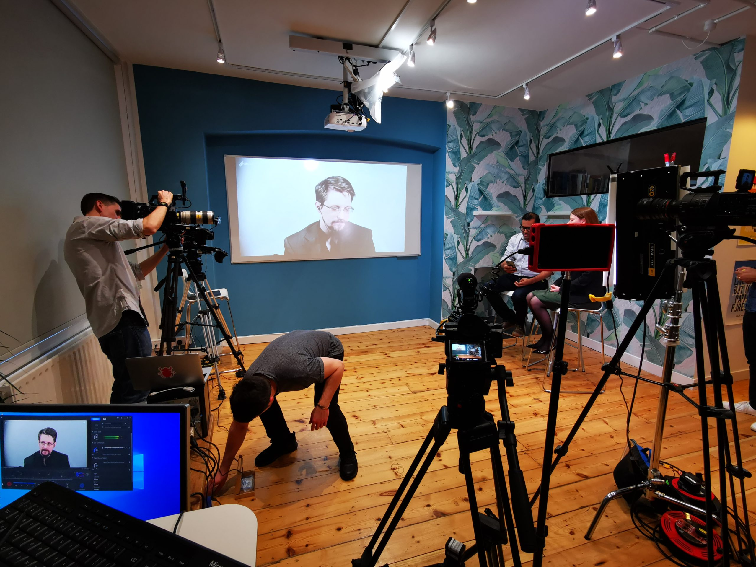 set up of cameras on a shoot