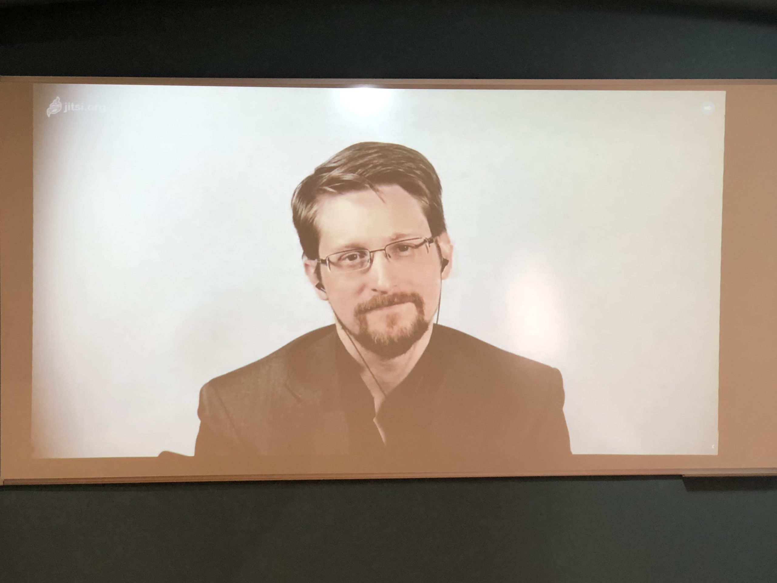 view through the camera of an interview shoot with edward snowden