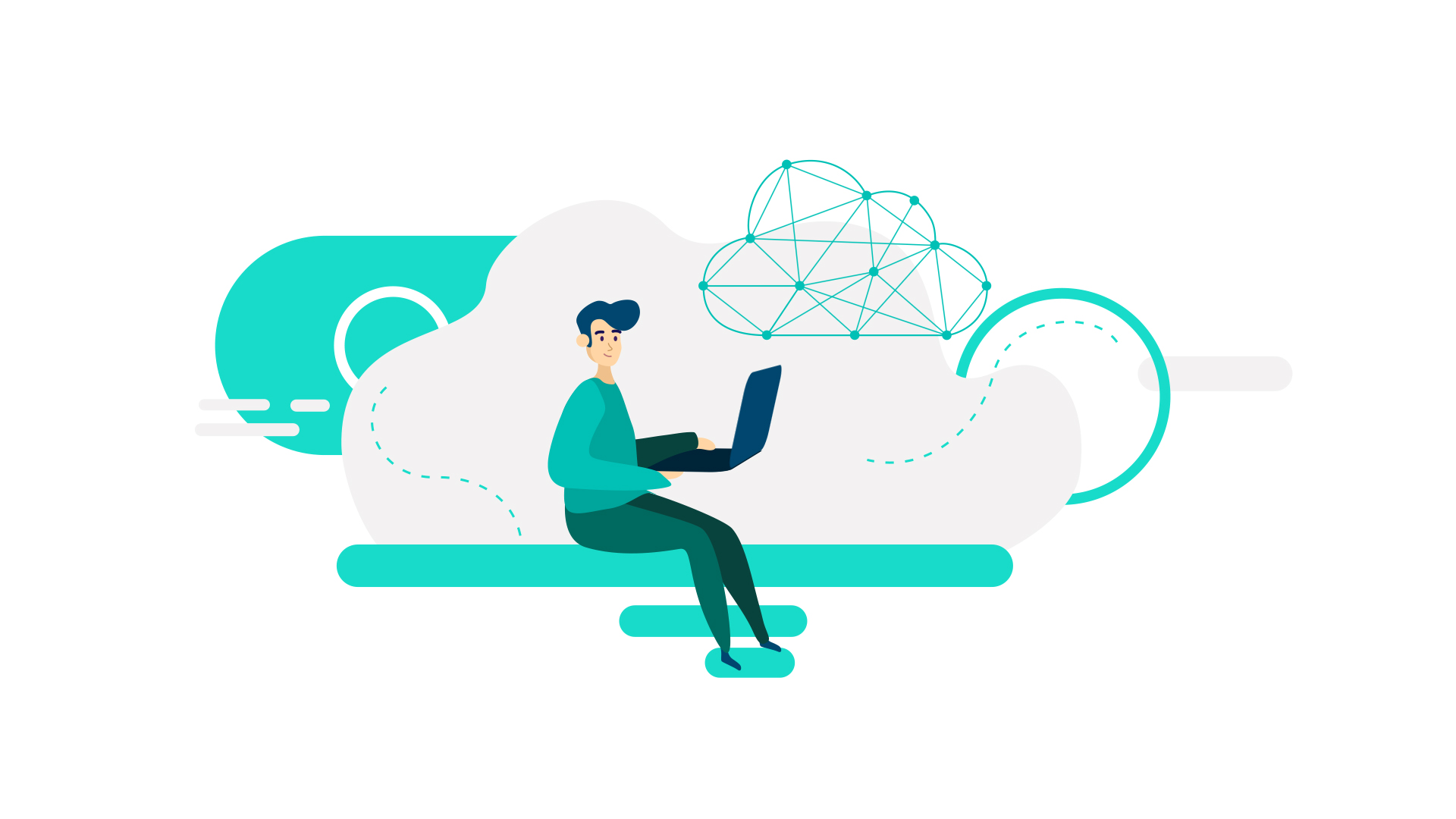 man sitting on a cloud with a laptop