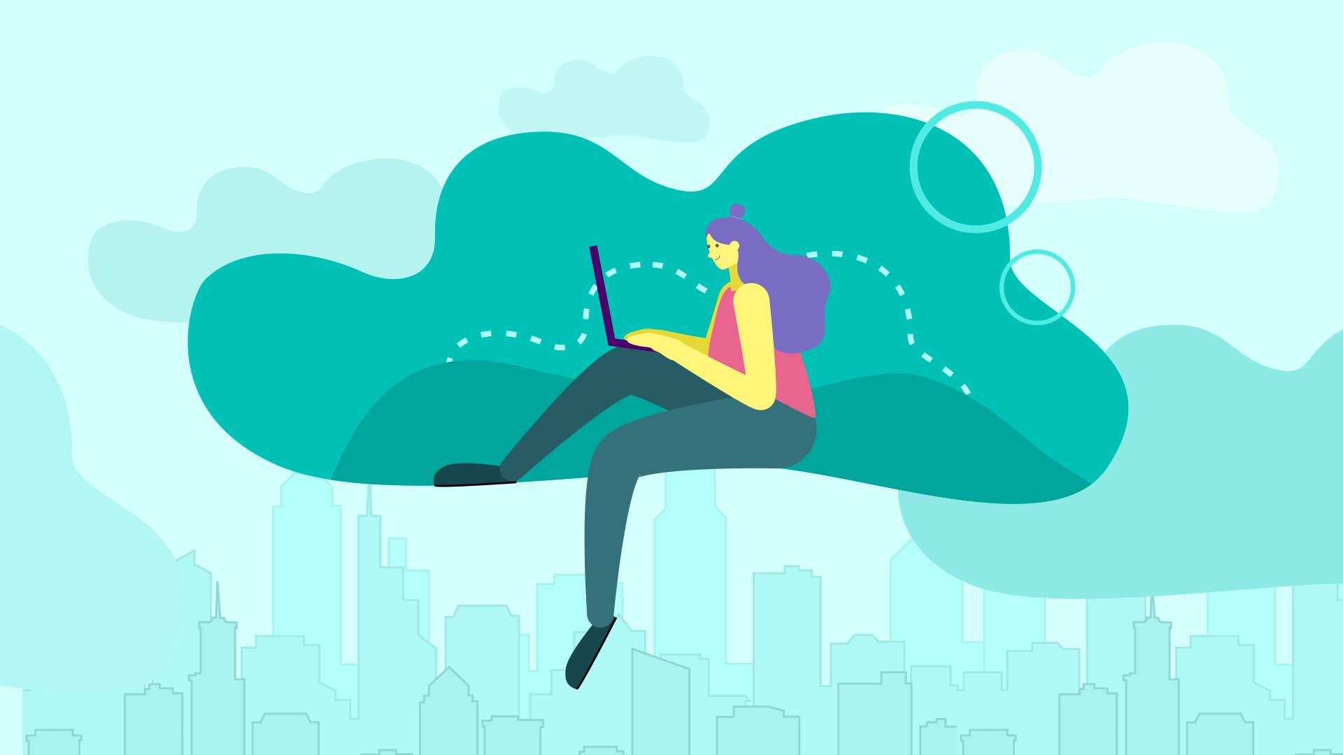 girl working on laptop on a good cloud