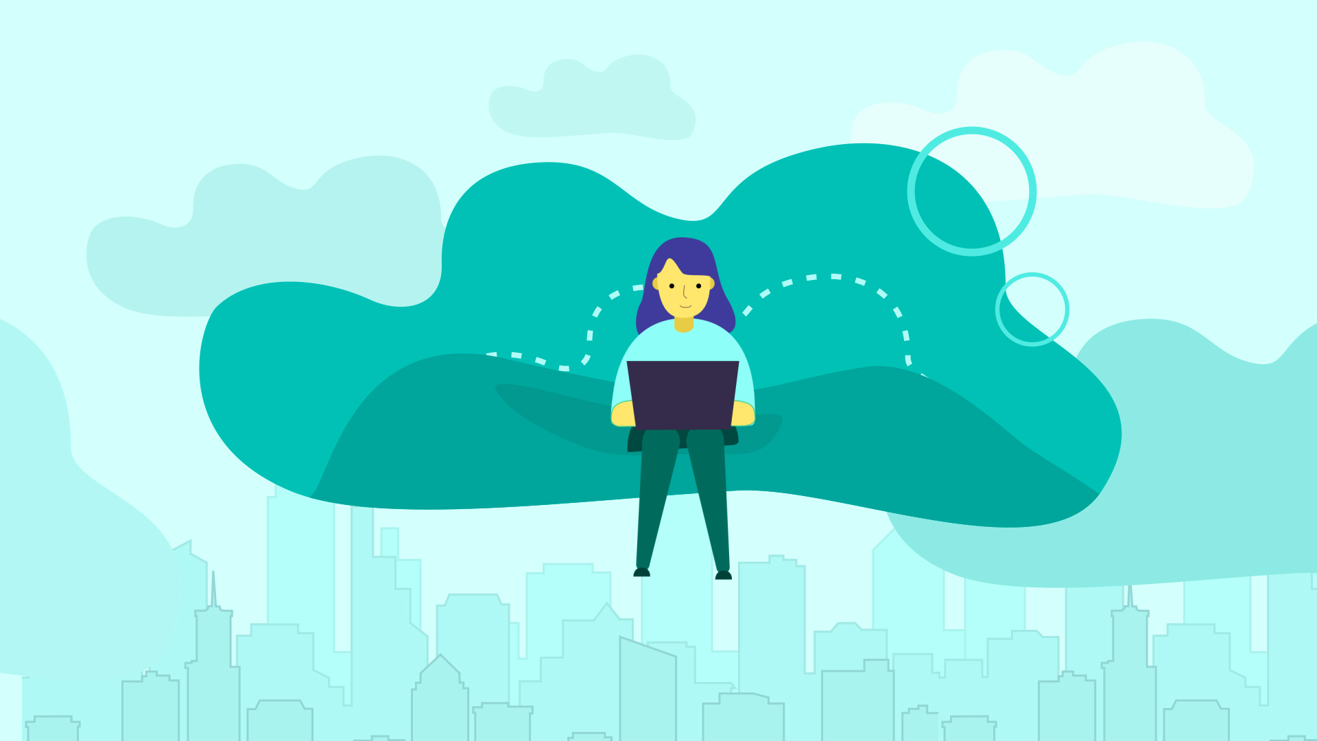 animation of girl sitting on a cloud with a laptop