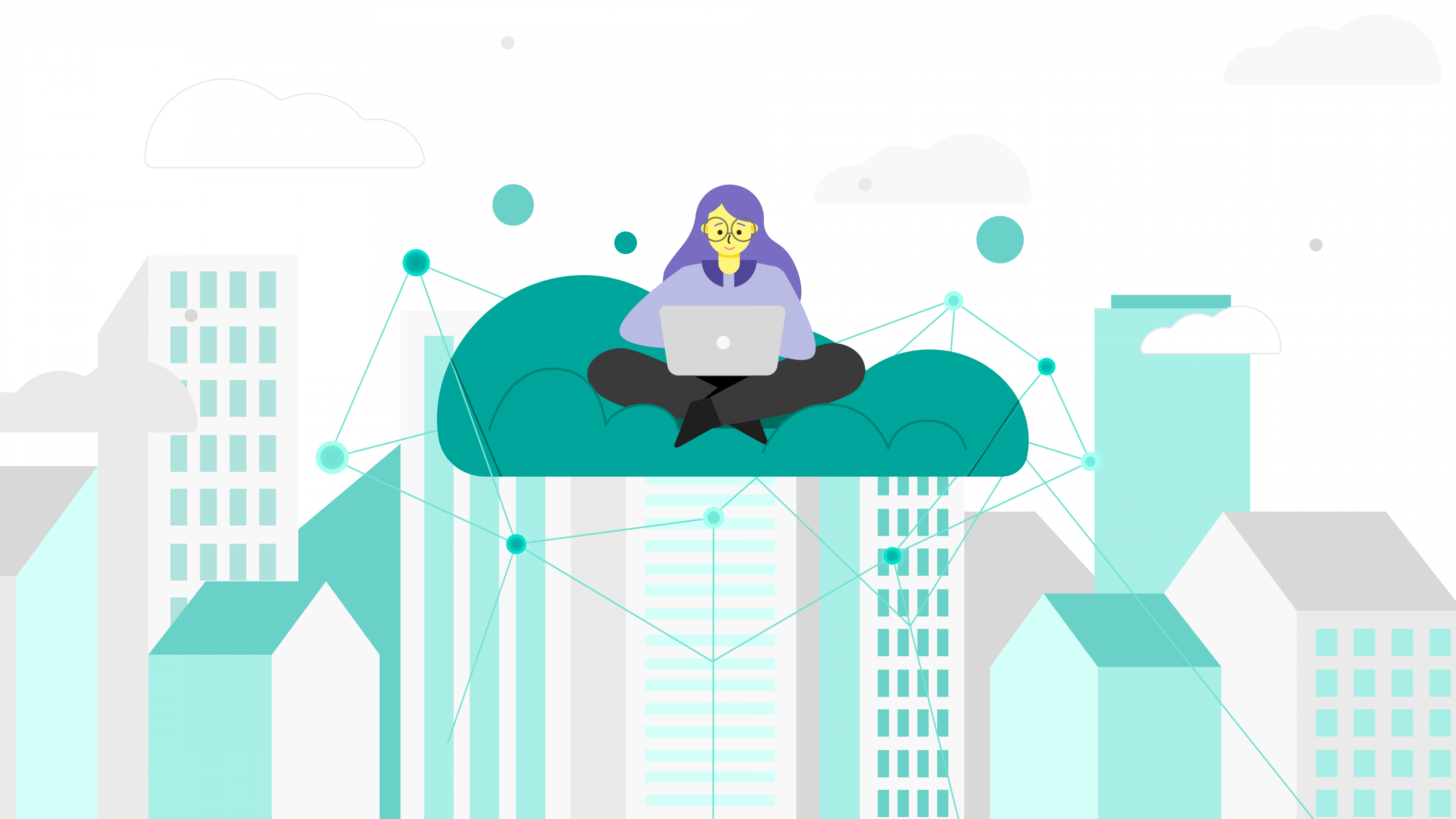 girl on cloud with laptop and city below her